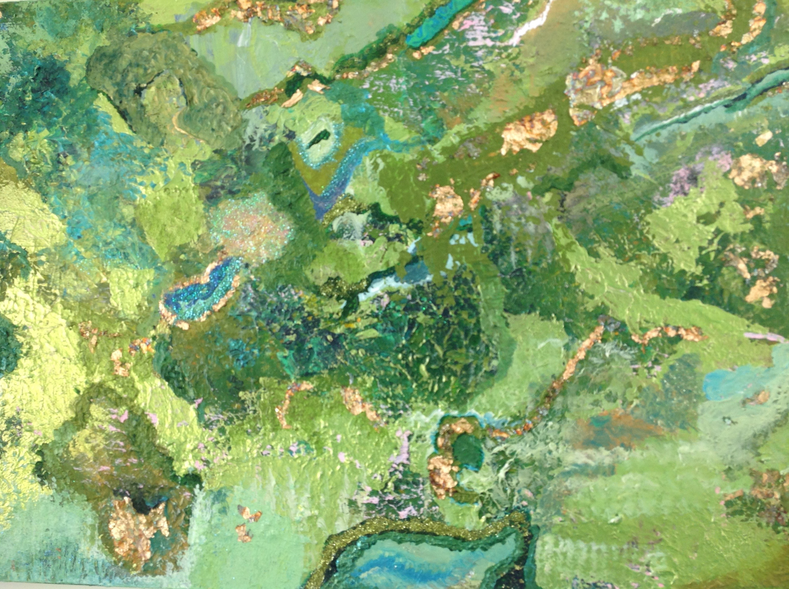 Various Greens and gold leaf painting abstract